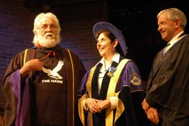 Doctor Ronnie Hawkins Father of Rock'n'Roll, Judith Woodsworth President of Laurentian University and Jamie Wallace, former Chair of Laurentian University's Board of Governors